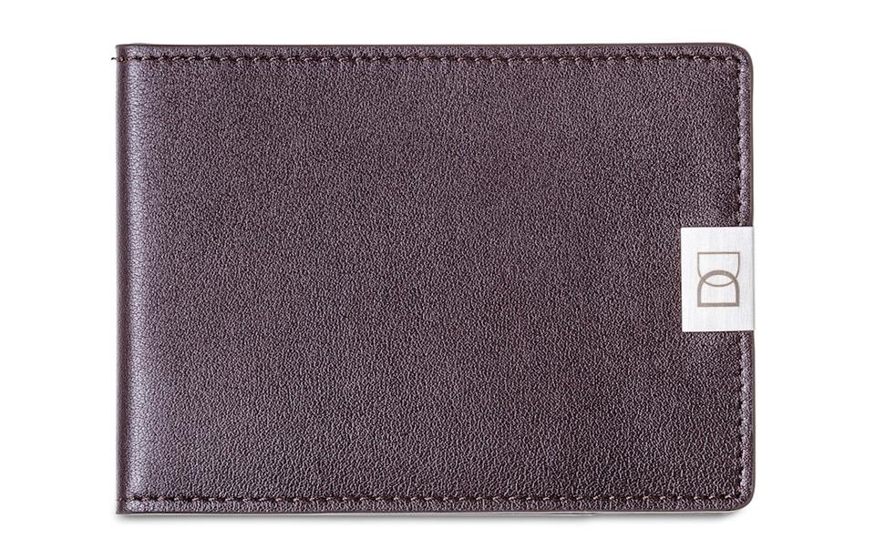 DUN wallet – dunste lederen RFID portemonnee – Brown/Silver