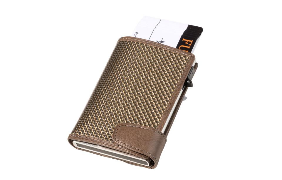 bd404a7e147 Tony Perotti – Furbo titanium kaarthouder met papier- en kleingeldvak –  Taupe
