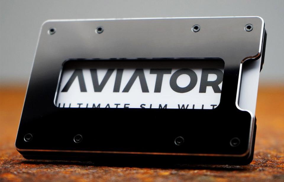 144cedfa4b4 Aviator – ultimate slim RFID wallet – Black Metallic + Carbon Cash Clip